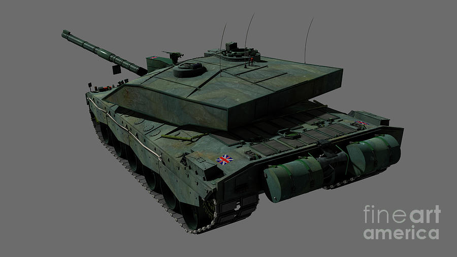 Horizontal Digital Art - Rear View Of A British Challenger II by Rhys Taylor