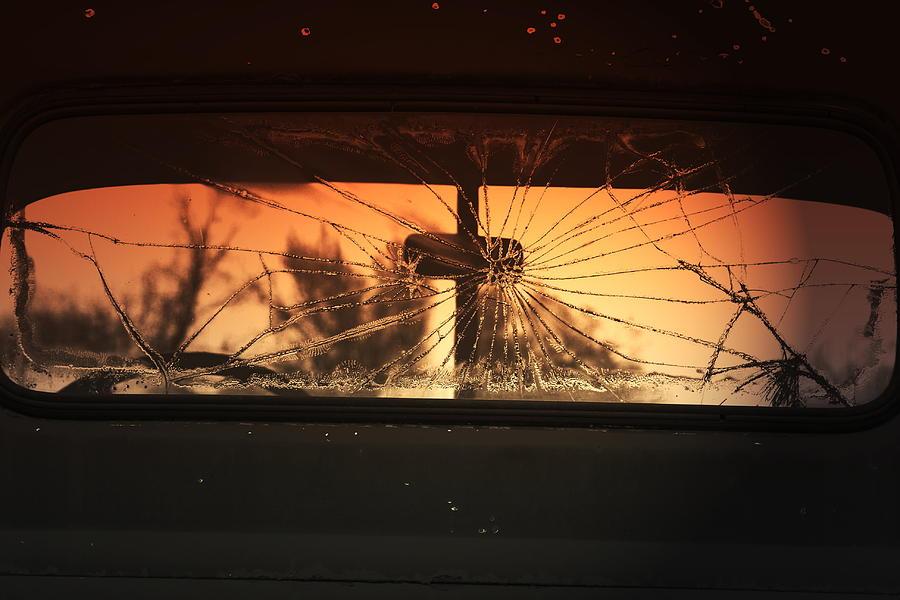 Religious Photograph - Rearview Mirror Cross by Lou Ann  Horton