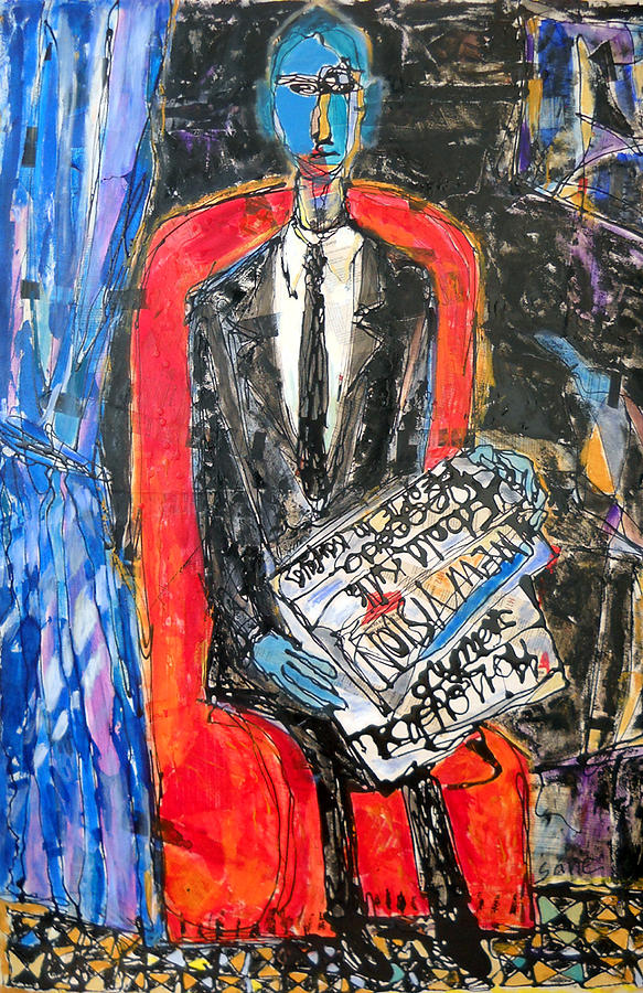 This Recent Work By Sane Is One Of Several Studies Of Older Works Of Well Known Masters Who Studied Africa's Masks And Other Artwork In Search For Redemption From The Spiritual Damnation Of Invading Africa. Sane Is Inspired By The Expressionist Derain Painting - Recalling The Portrait Of An Unknown Man Reading A Newspaper Chevalier X By Andre Derain by Eria Nsubuga
