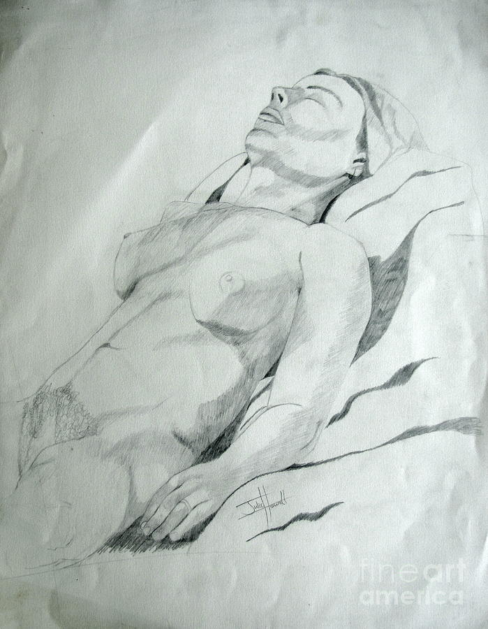 Reclining Nude Drawing by Julie Coughlin