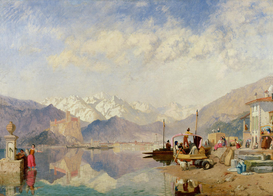 James Painting - Recollections Of The Lago Maggiore Market Day At Pallanza by James Baker Pyne