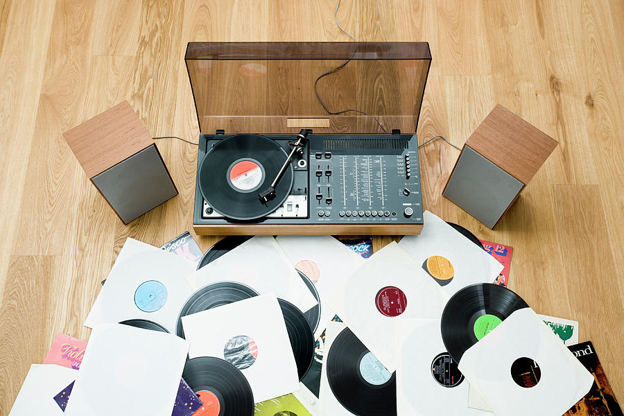 Records lying on floor by 1970 s stereo system photograph for 14th floor records