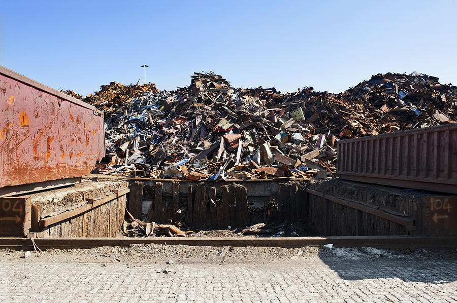 Arrangement Photograph - Recycle Dump Site Or Yard For Steel by Corepics