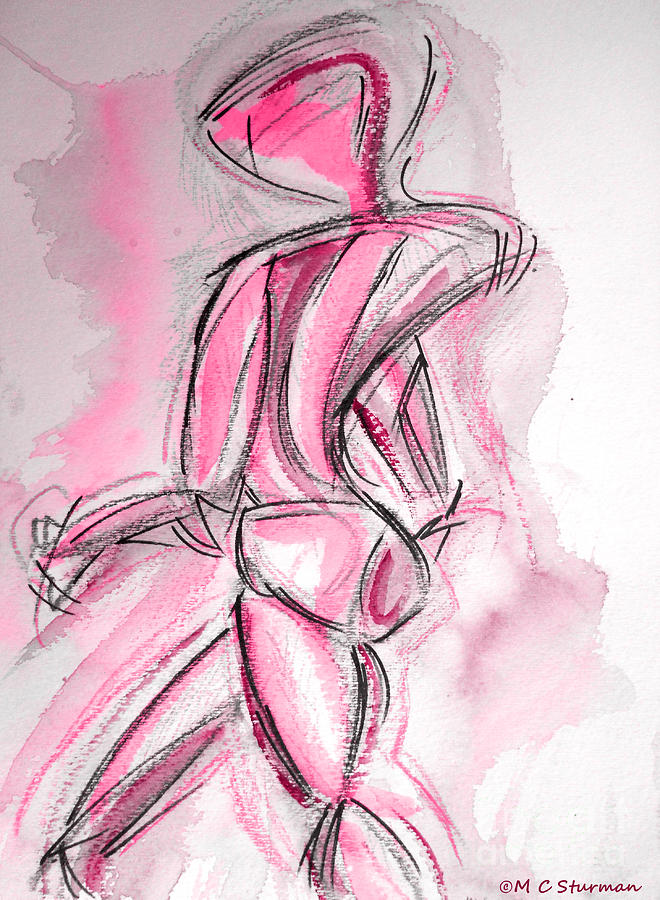 Nude Mixed Media - Red Abstract Nude by M C Sturman
