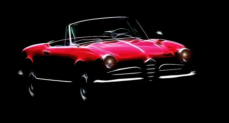 Alfa Romeo Spider Giulia 1600 Car Oldtimer Digital Painting Black White Expressionism Impressionism Motor Sport Sports  Digital Art - Red Alfa Romeo 1600 Giulia Spider by Steve K