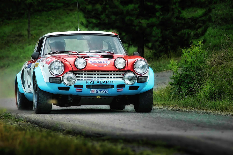 Car Photograph - Red And Blue Fiat Abarth by Alain De Maximy