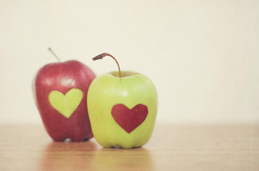 Horizontal Photograph - Red And Green Apple With Heart Shape by Maria Kallin