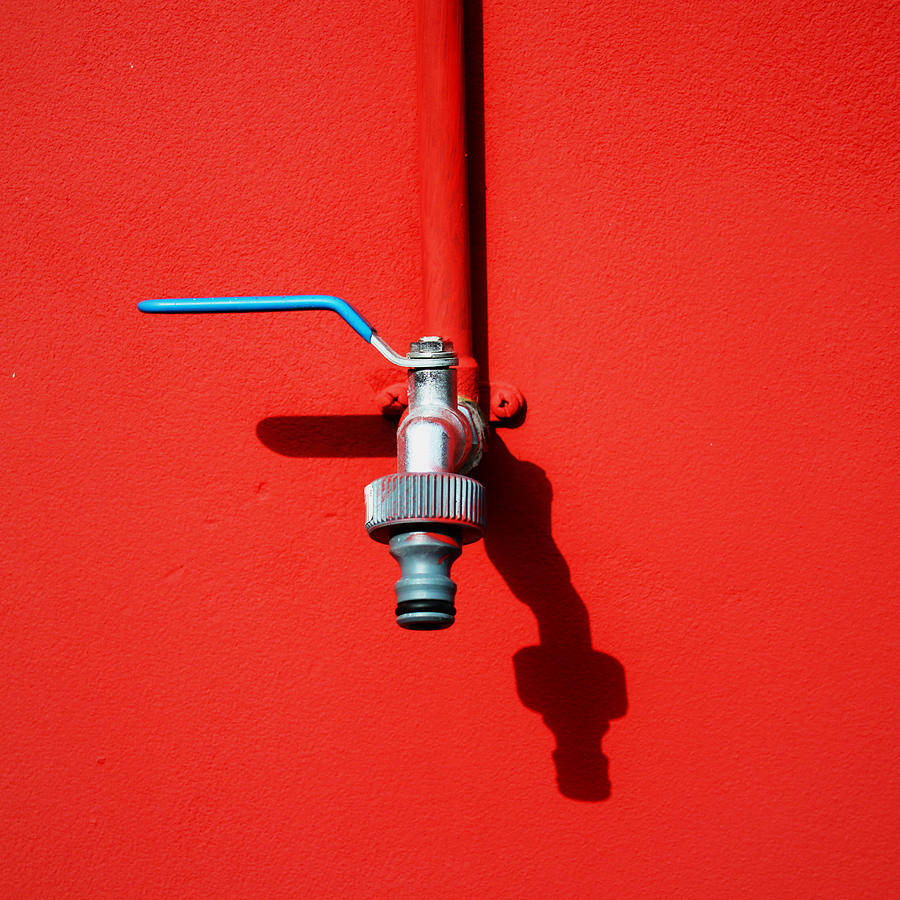 Square Photograph - Red And Tap by Saulgranda