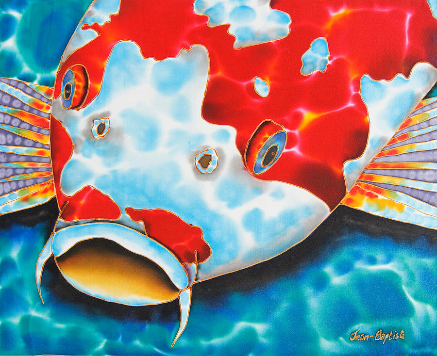 Fish Painting - Red And White Koi     by Daniel Jean-Baptiste