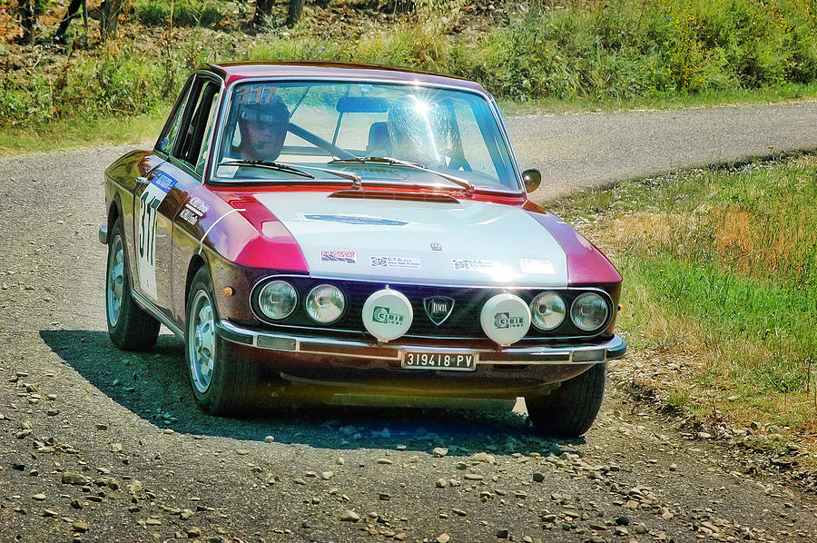 Car Photograph - Red And White Lancia by Alain De Maximy