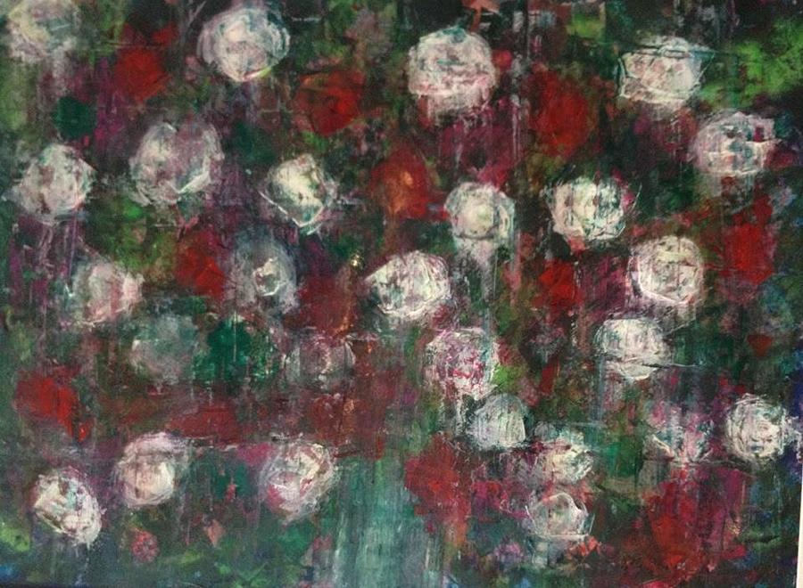 Original Painting - Red And White Roses by Kelli Perk