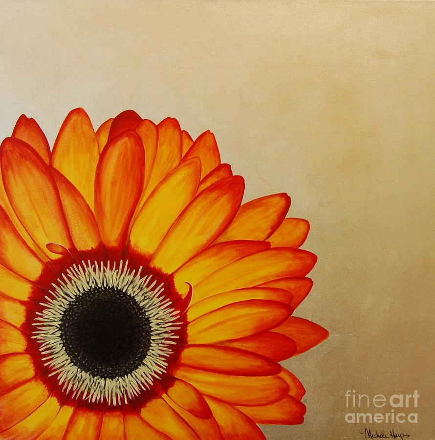 Red And Yellow Gerbera Daisy On Silver Leaf Painting by Michele Harps