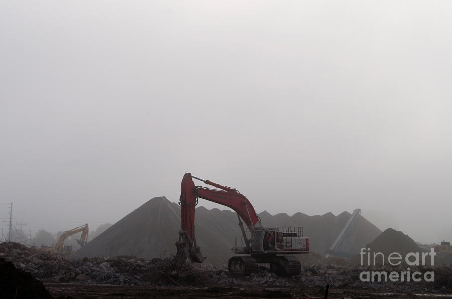 Fog Photograph - Red And Yellow Monsters by Gary Chapple