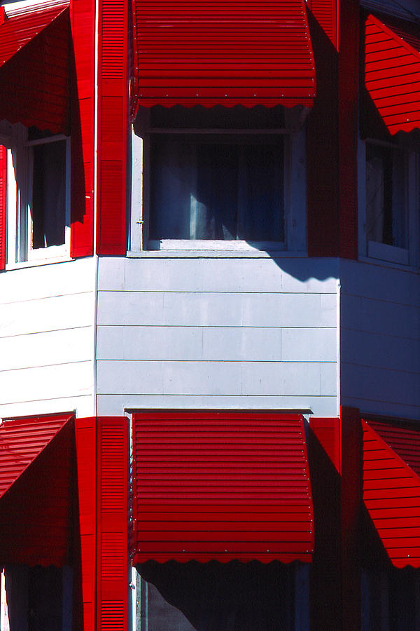 Vibrant Photograph - Red Awnings by Alfred Dominic Ligammari II