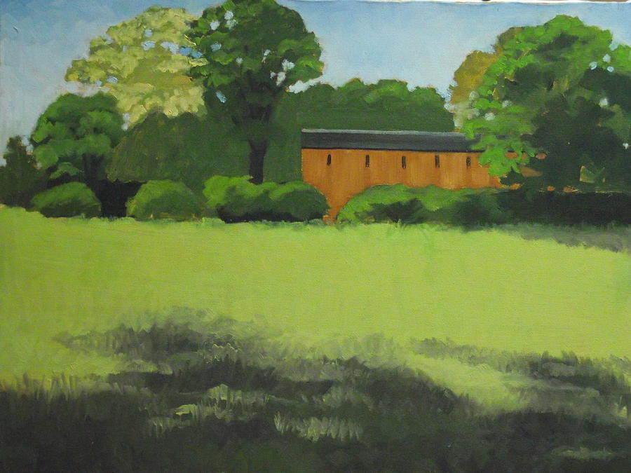 Summertime Painting - Red  Barn  In  Meadow by Robert Rohrich