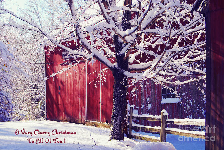 Winter Photograph - Red Barn In The Winter Connecticut Usa by Sabine Jacobs
