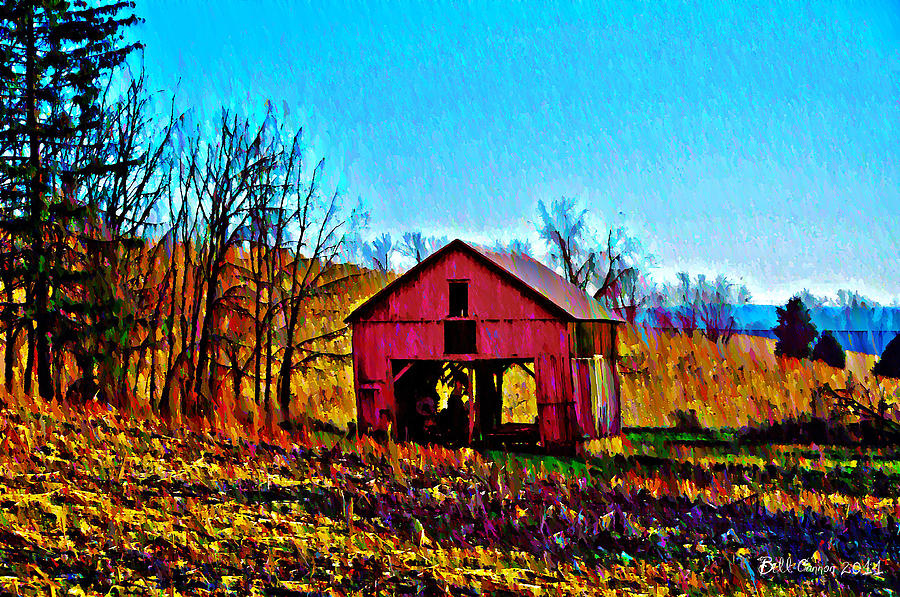 Red Photograph - Red Barn On A Hillside by Bill Cannon