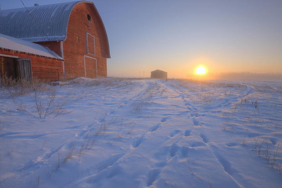 Red Barn On Very Cold Winter Morning Photograph by Dan Jurak