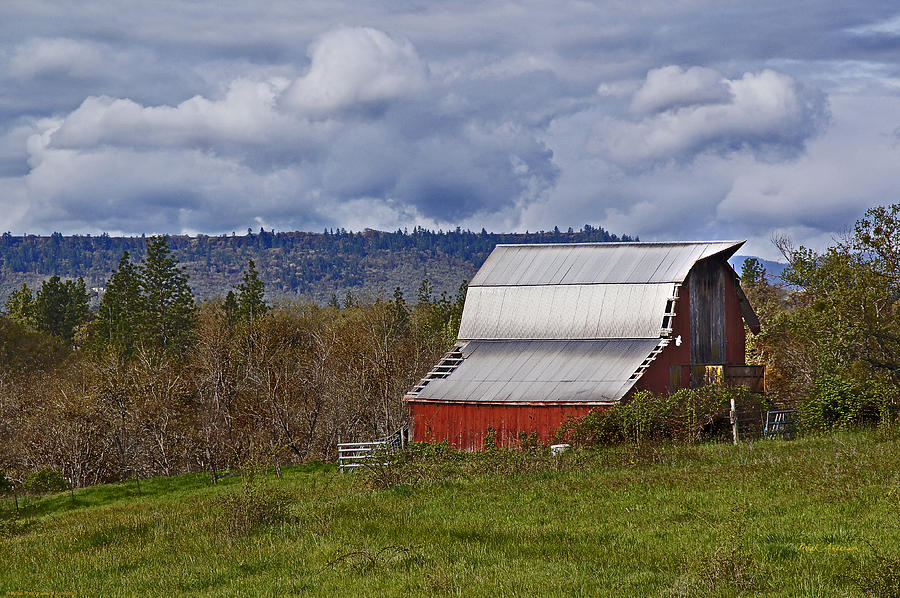 Metal Photograph - Red Barn With Tin Roof by Mick Anderson