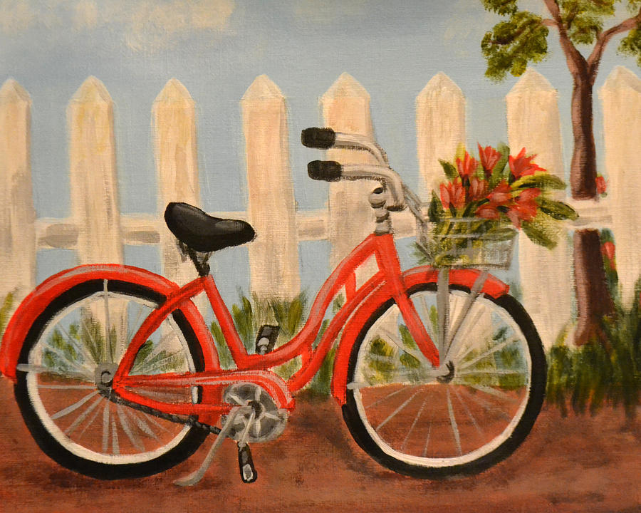 Red bicycle painting by nancy otey for Bicycle painting near me