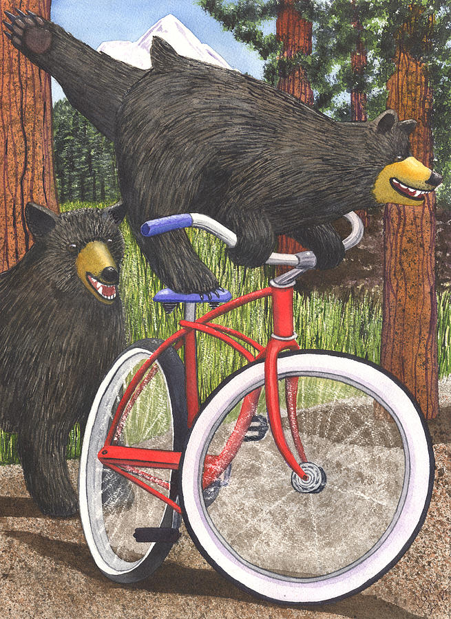 Медведь на велосипеде картинка