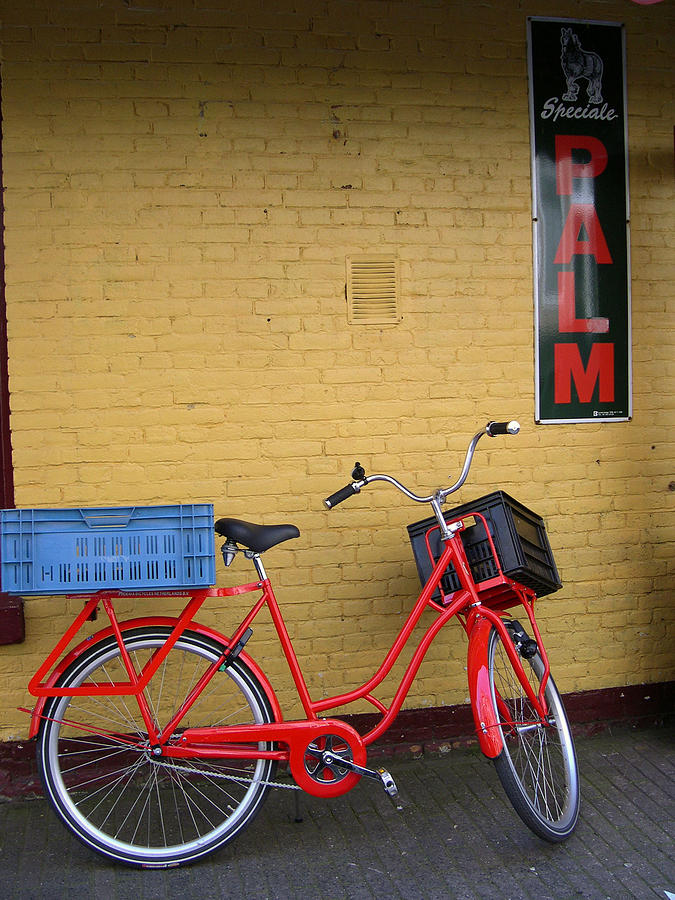 Bike Photograph - Red Bike With Blue Basket by Jill Pro
