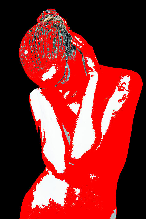 American Digital Art - Red Black Drama by Naxart Studio
