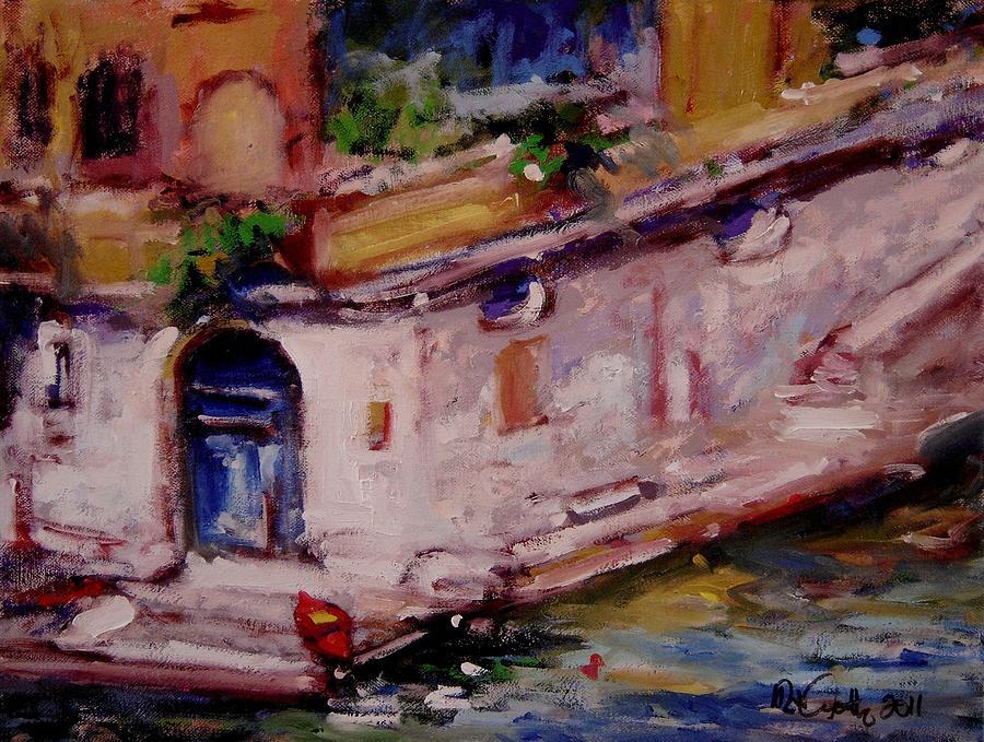 Blue Door Painting - Red Boat Blue Door by R W Goetting