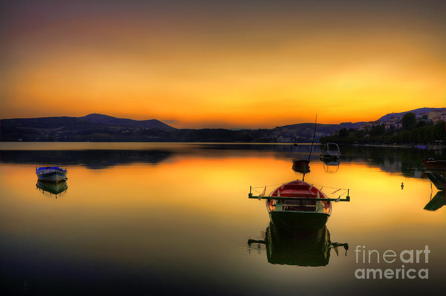Boat Pyrography - Red Boat In Lake by Soultana Koleska