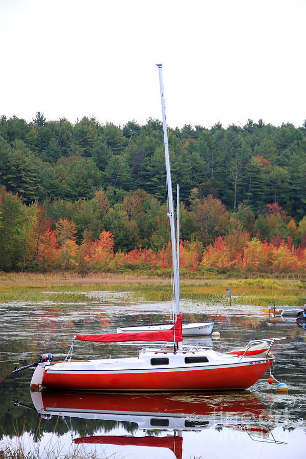 Holderness Nh Photograph - Red Boat Reflection by Michael Mooney
