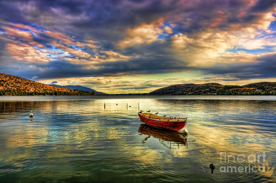 Boat Pyrography - Red Boat Under Cloudy Sky by Soultana Koleska