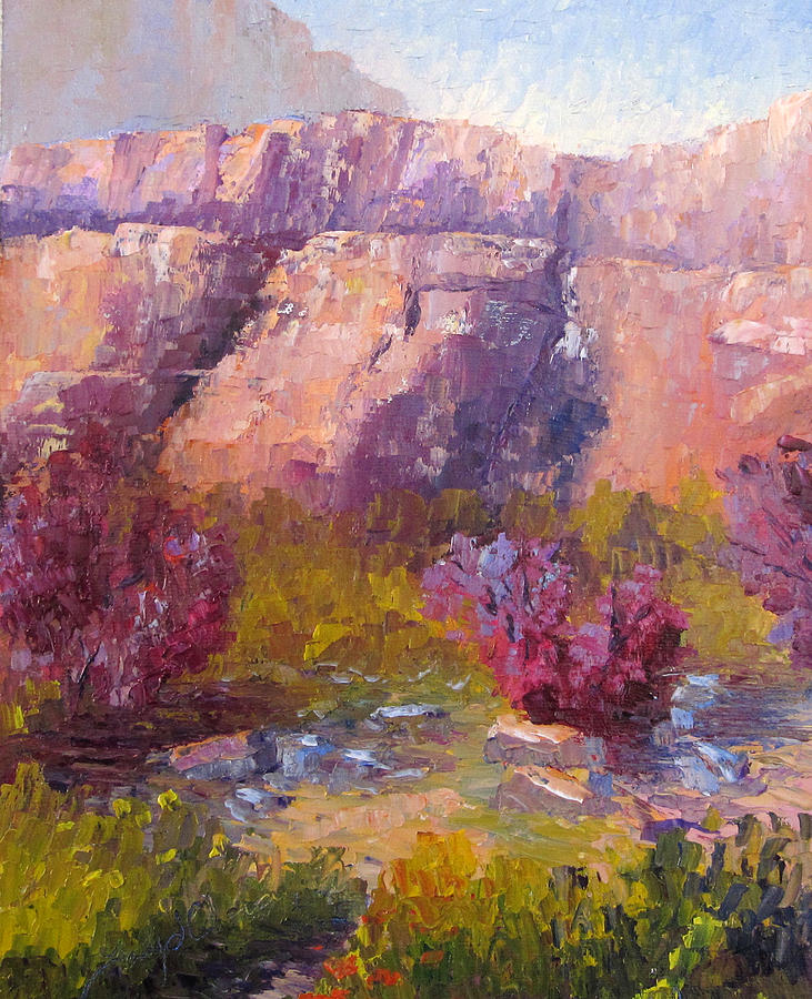 Landscape Painting - Red Bud Trees by Terry  Chacon