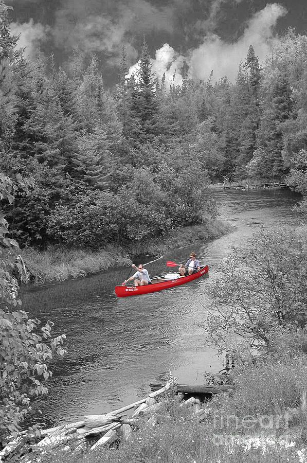 Canoe Photograph - Red Canoe by Jim Wright