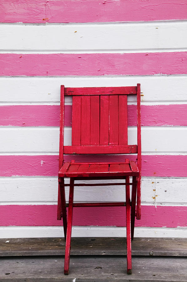 Red Photograph - Red Chair And Pink Strips by Garry Gay