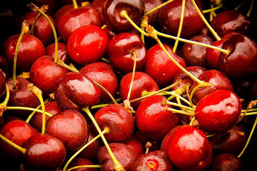 Cherry Photograph - Red Cherries by Jen Morrison