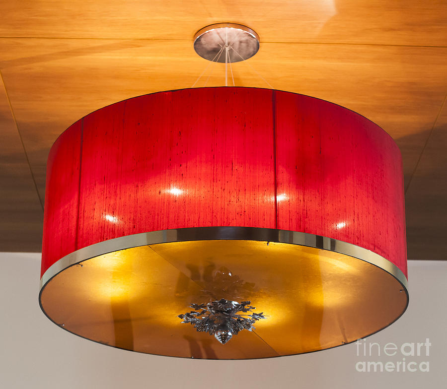 Antique Photograph - Red Circles Chandelier  by Chavalit Kamolthamanon