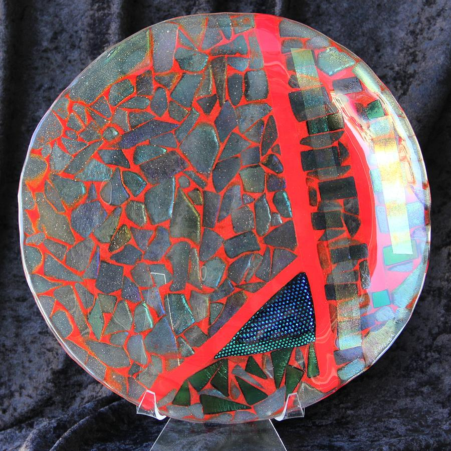 Dichroic Glass Glass Art - Red Divisions by Thomas Mogensen