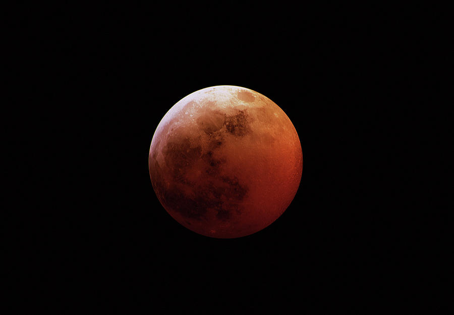 Horizontal Photograph - Red Eclipsed Moon by Photography By Escobar Studios