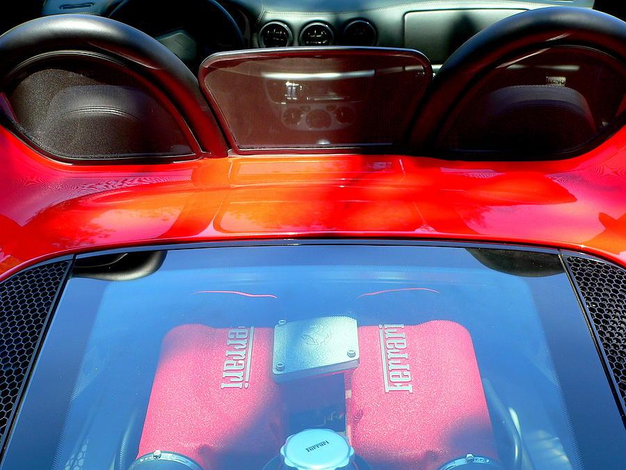 Ferrari Photograph - Red Ferrari Engine  by Jeff Lowe