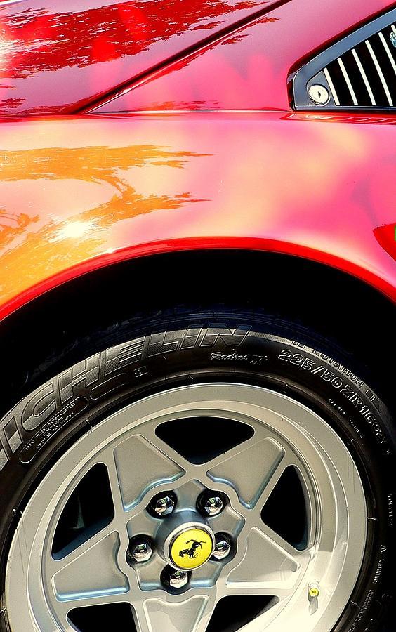 Ferrari Tire Photograph - Red Ferrari  by Jeff Lowe
