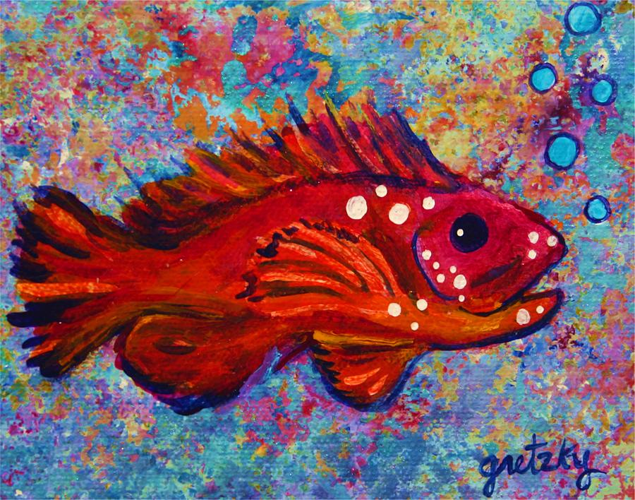 Red Painting - Red Fish by Paintings by Gretzky
