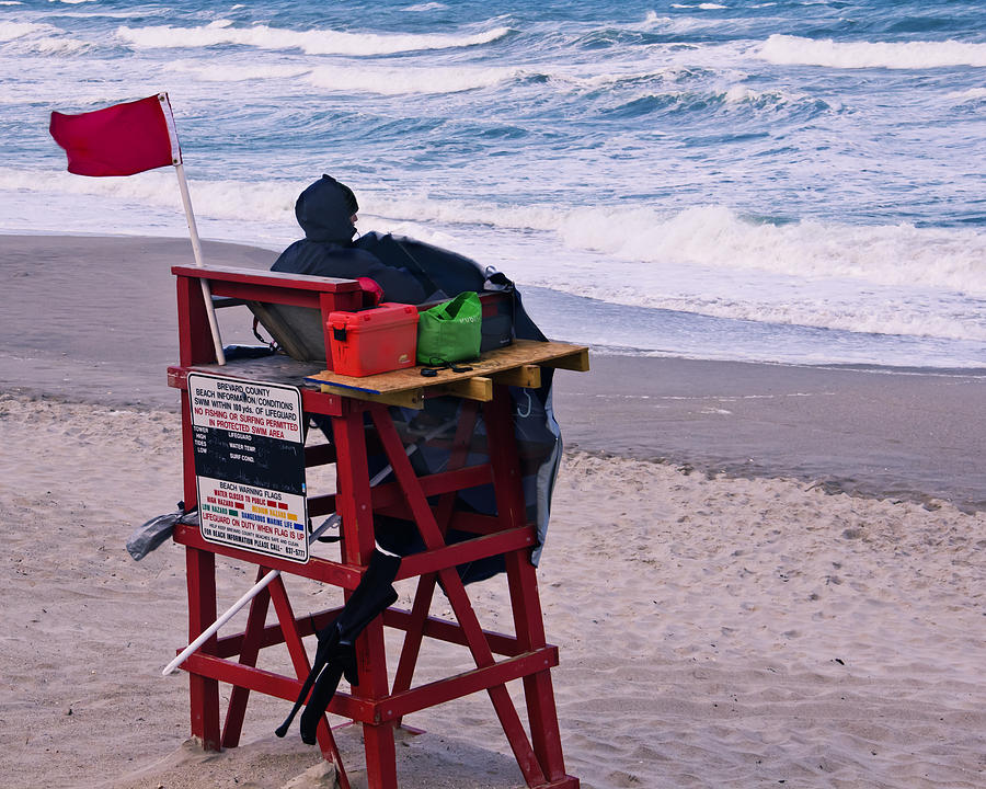 Beach Photograph - Red Flag Day by Roger Wedegis