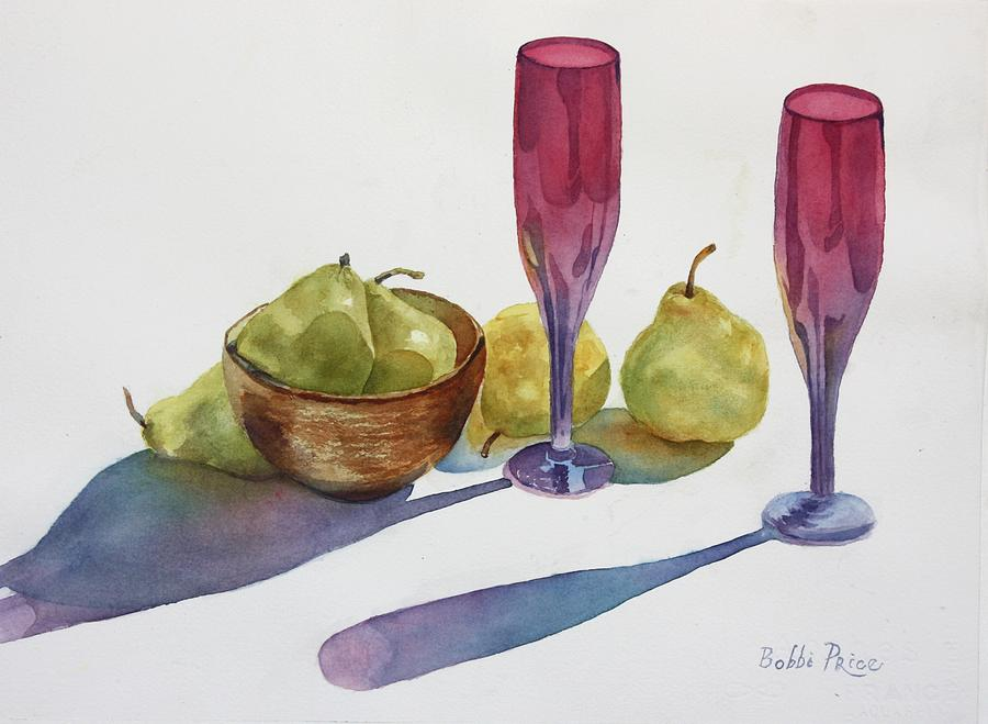 Watercolors Painting - Red Flutes And Pears by Bobbi Price