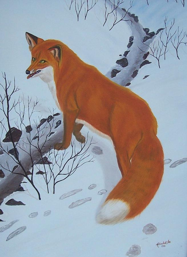 Red Fox Painting - Red Fox In Snow by Melinda Fox