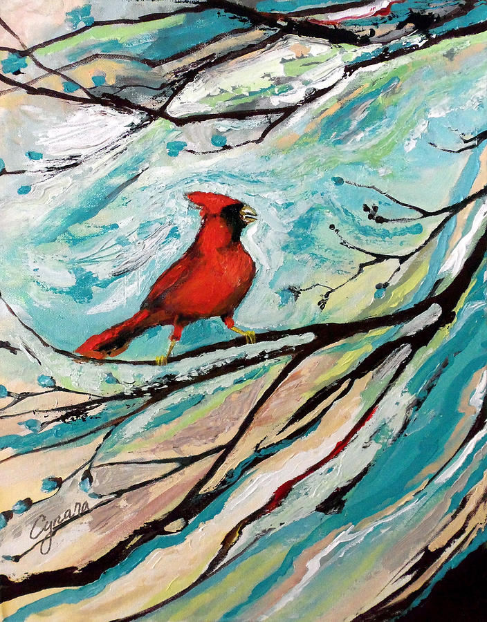 Redbird Painting - Red Fury by Cynara Shelton