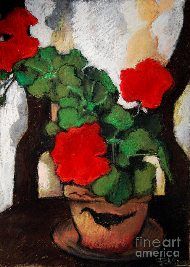 Red Geranium Pastel - Red Geranium by Mona Edulesco