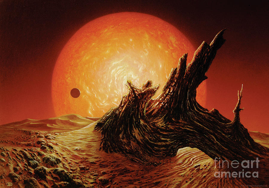 Space Painting - Red Giant Sun by Don Dixon