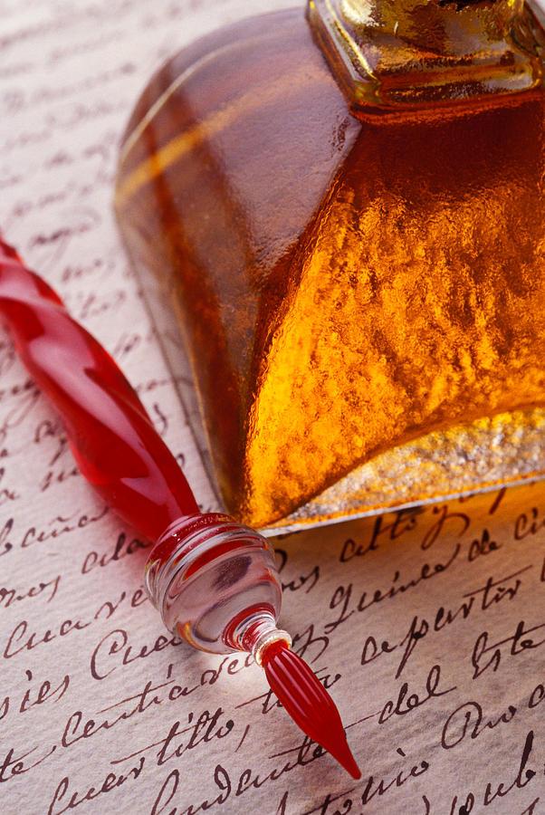 Glass Pen Photograph - Red Glass Pen  by Garry Gay