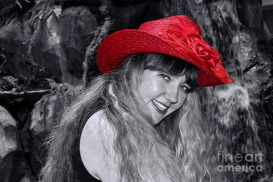 Flirty Photograph - Red Hat And A Blonde Black And White by Mariola Bitner