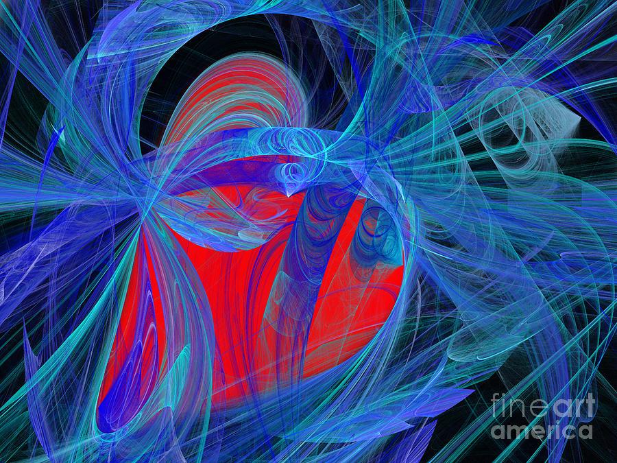 Fine Art Digital Art - Red Heart Blue Lace by Andee Design